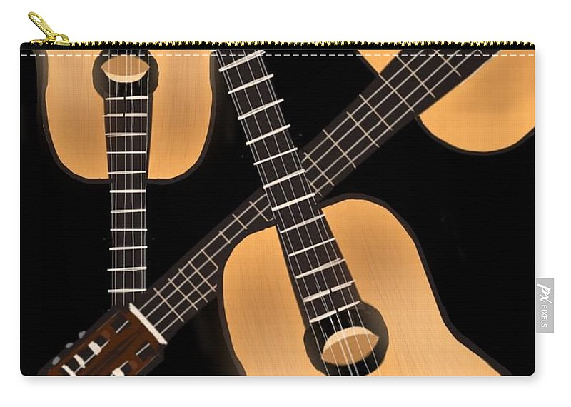 Guitar Carry-all Pouch featuring the digital art Triple Play by Christine Fournier