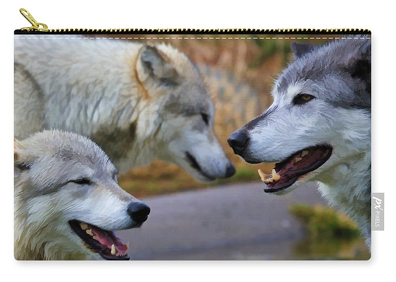 Wolves Carry-all Pouch featuring the photograph Triple Take Painted by Athena Mckinzie