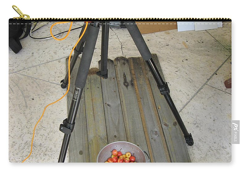 Cherries Carry-all Pouch featuring the photograph Tripod And Cherries On Floor by Rich Franco