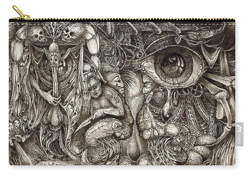 Surreal Carry-all Pouch featuring the drawing Tripping Through Bogomils Mind by Otto Rapp