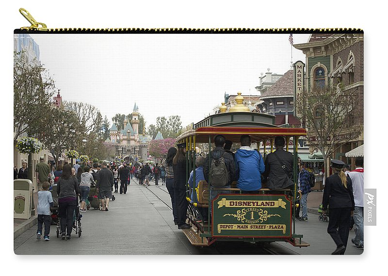 Disney Carry-all Pouch featuring the photograph Trolley Car Main Street Disneyland 03 by Thomas Woolworth