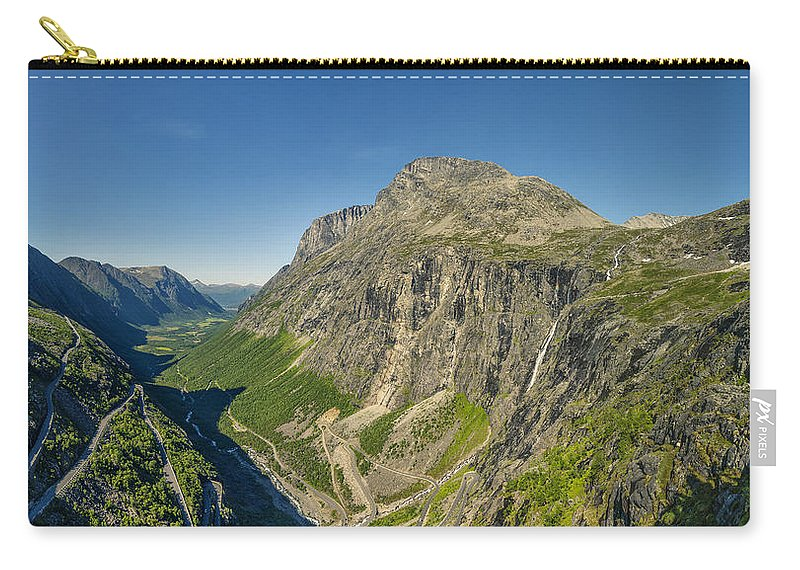 Trollstigen From The Very Top Carry-all Pouch featuring the photograph Trollstigen From The Very Top by Angela Stanton