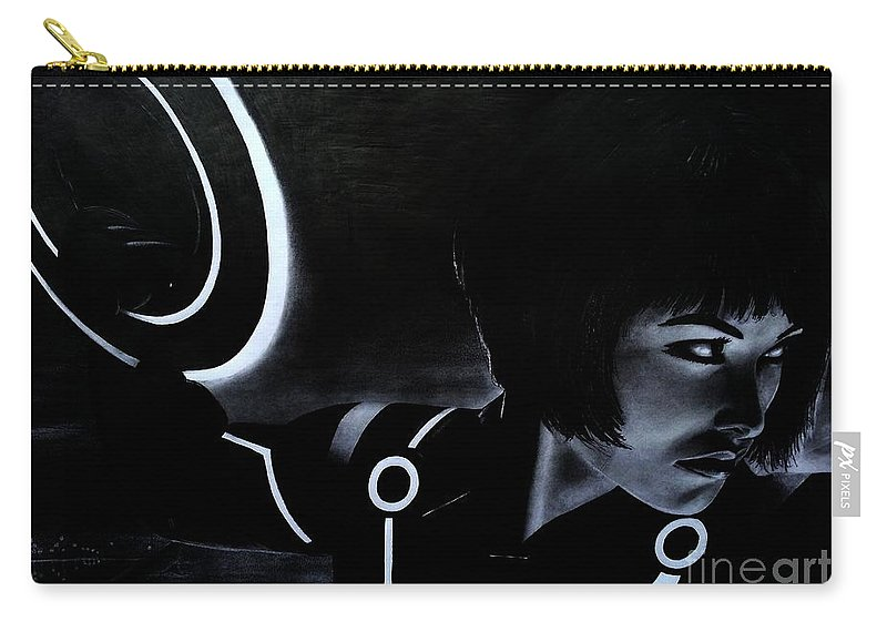 Tron Carry-all Pouch featuring the drawing Tron by Gil Fong