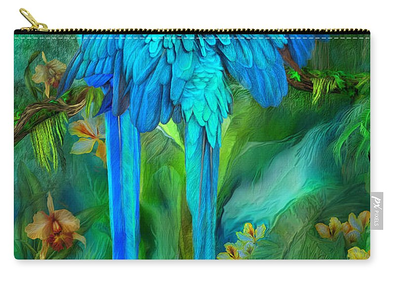 Macaw Carry-all Pouch featuring the mixed media Tropic Spirits - Gold And Blue Macaws by Carol Cavalaris