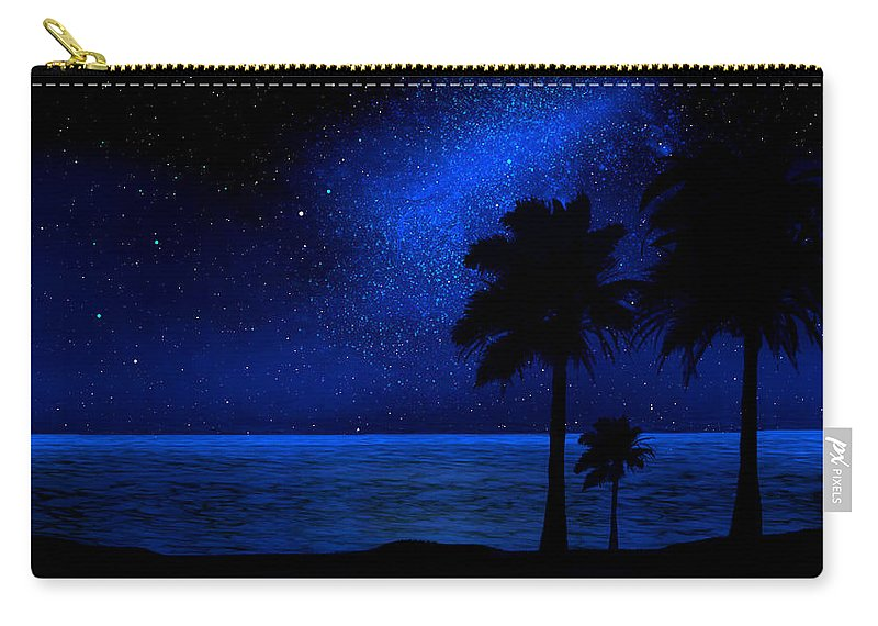 Tropical Beach Mural Carry-all Pouch featuring the painting Tropical Beach Wall Mural by Frank Wilson