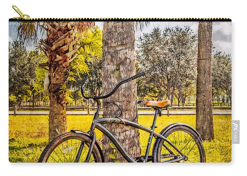 Clouds Carry-all Pouch featuring the photograph Tropical Bicycle by Debra and Dave Vanderlaan