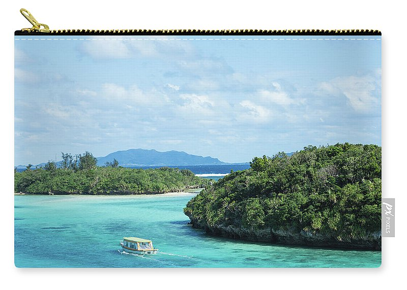 Outdoors Carry-all Pouch featuring the photograph Tropical Blue Lagoon And Lush Rock by Ippei Naoi