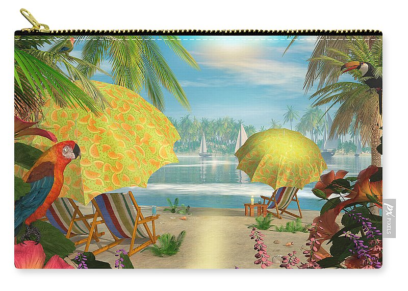 Art Licensing Carry-all Pouch featuring the mixed media Tropical Delight by Caplyn Dor