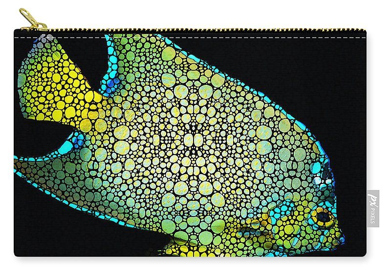 Fish Carry-all Pouch featuring the painting Tropical Fish Art 8 - Abstract Mosaic By Sharon Cummings by Sharon Cummings