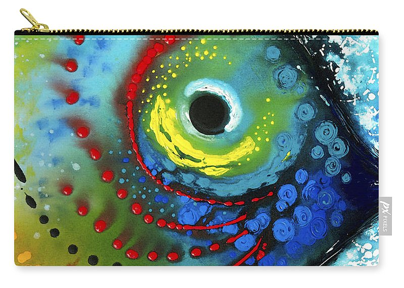 Sharon Cummings Carry-all Pouch featuring the painting Tropical Fish - Art By Sharon Cummings by Sharon Cummings