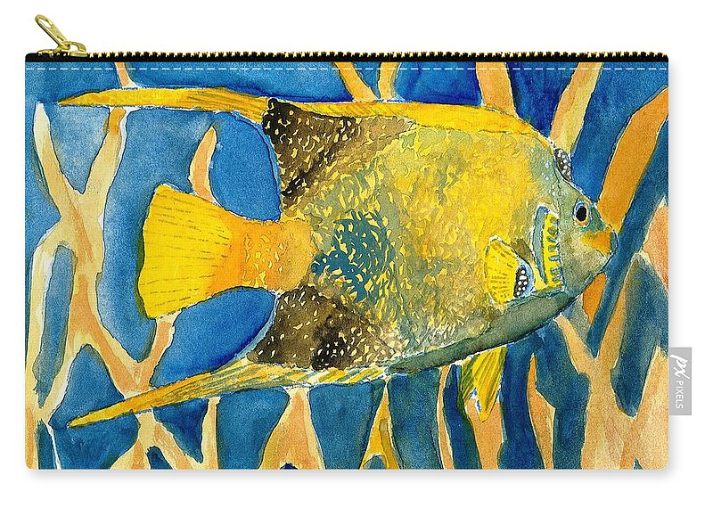 Tropical Carry-all Pouch featuring the painting Tropical Fish Art Print by Derek Mccrea