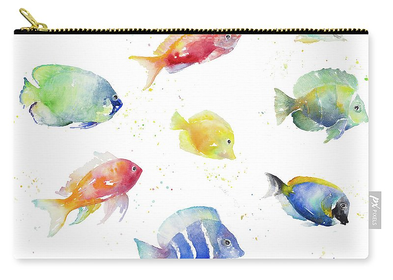 Tropical Carry-all Pouch featuring the painting Tropical Fish Round by Lanie Loreth