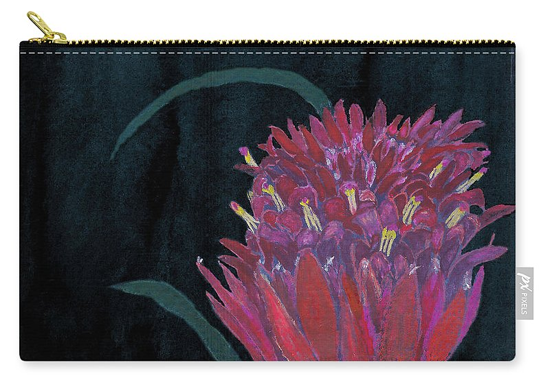 C Sitton Painting Paintings Carry-all Pouch featuring the mixed media Tropical Flower by C Sitton