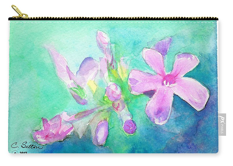 C Sitton Painting Paintings Carry-all Pouch featuring the painting Tropical Flowers by C Sitton
