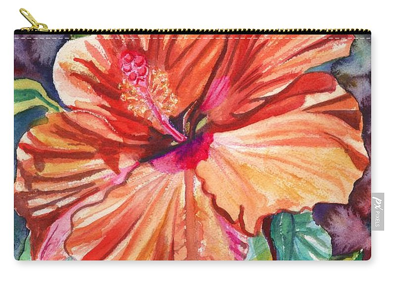 Hibiscus Carry-all Pouch featuring the painting Tropical Hibiscus 5 by Marionette Taboniar
