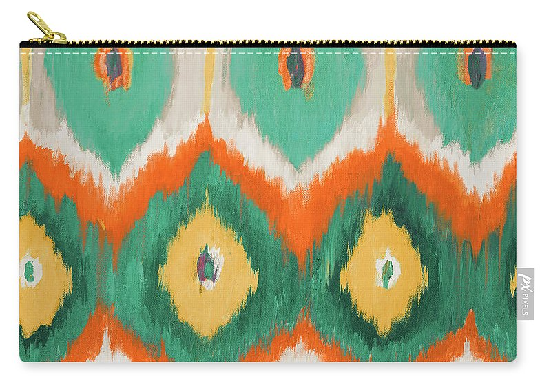 Tropical Carry-all Pouch featuring the painting Tropical Ikat II by Patricia Pinto