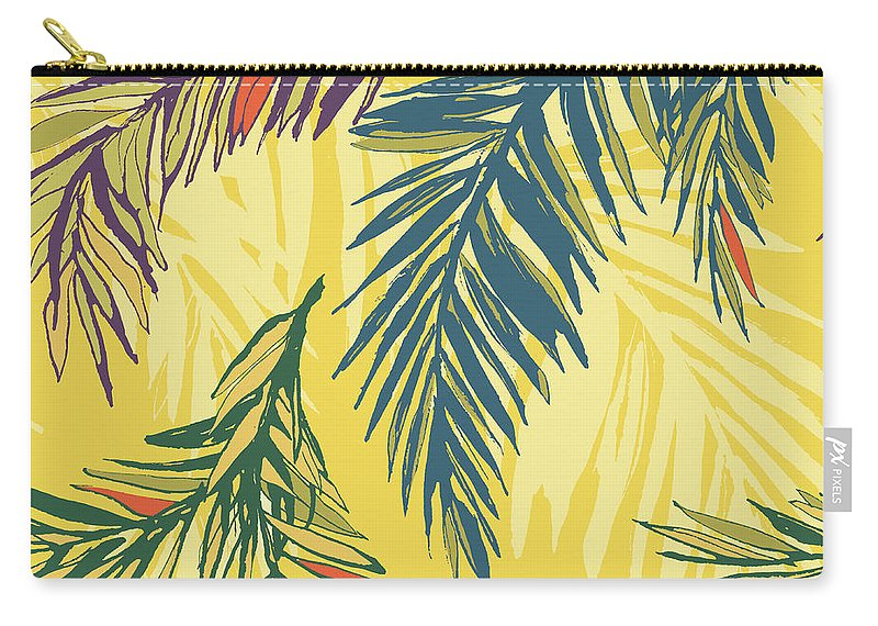 Tropical Rainforest Carry-all Pouch featuring the digital art Tropical Jungle Floral Seamless Pattern by Sv sunny