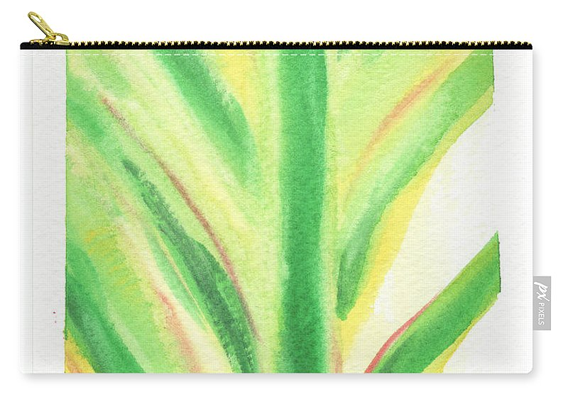 C Sitton Painting Paintings Carry-all Pouch featuring the painting Tropical Leaf by C Sitton