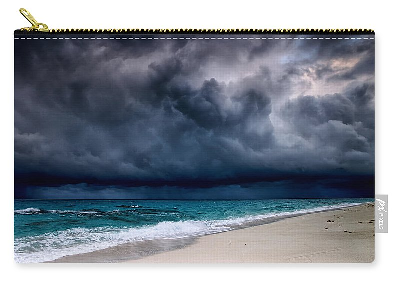 Water's Edge Carry-all Pouch featuring the photograph Tropical Storm Over The Caribbean Sea by Stevegeer