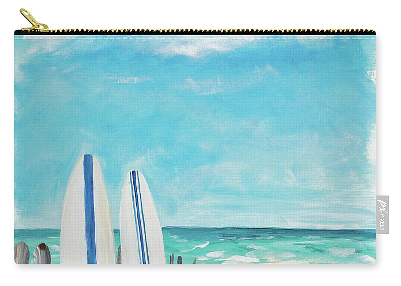 Tropical Carry-all Pouch featuring the digital art Tropical Surf II by Julie Derice