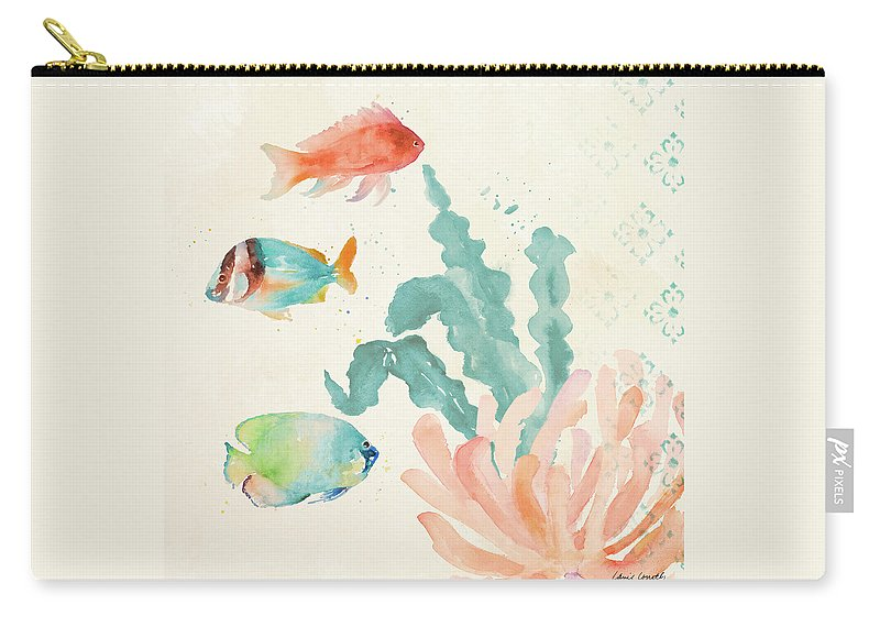 Tropical Carry-all Pouch featuring the painting Tropical Teal Coral Medley I by Lanie Loreth