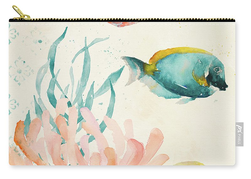 Tropical Carry-all Pouch featuring the painting Tropical Teal Coral Medley II by Lanie Loreth