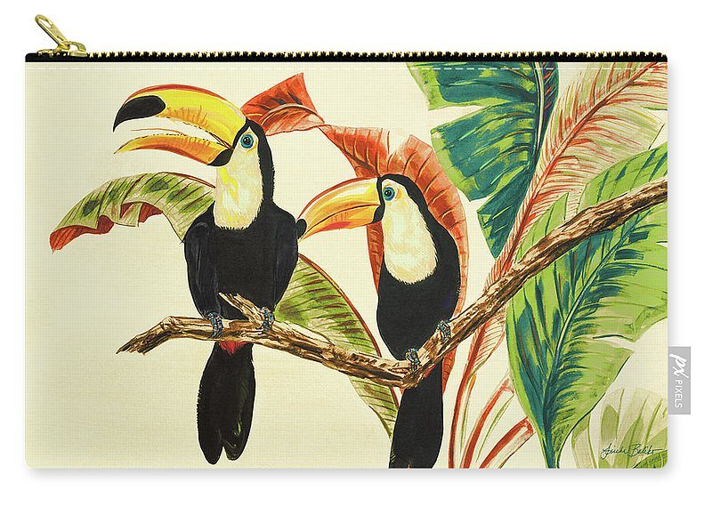 Toucans Carry-all Pouch featuring the painting Tropical Toucans I by Linda Baliko