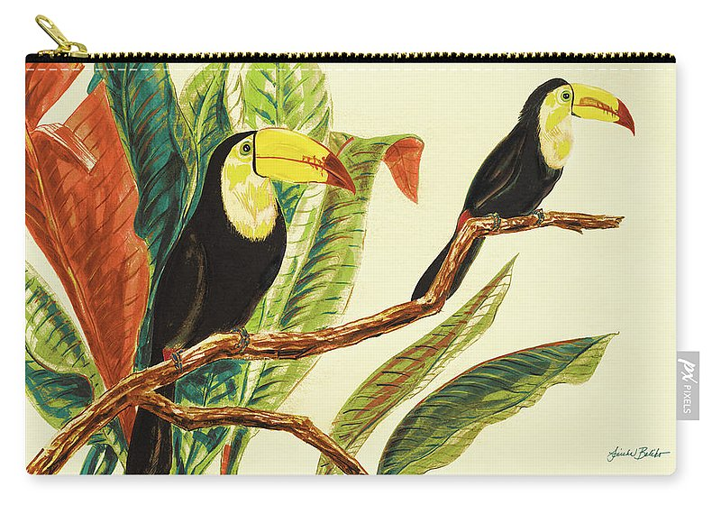 Toucans Carry-all Pouch featuring the painting Tropical Toucans II by Linda Baliko