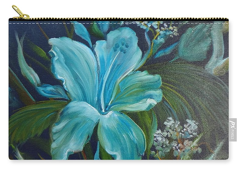Tropical Blue Floral Print Carry-all Pouch featuring the painting Tropical Turquoise by Jenny Lee