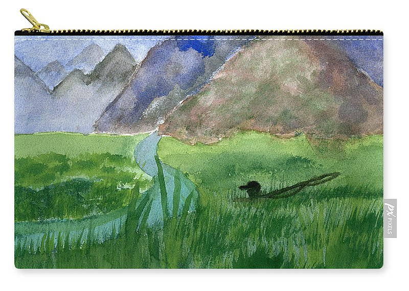 Fishing Carry-all Pouch featuring the painting Trout Bum by Victor Vosen