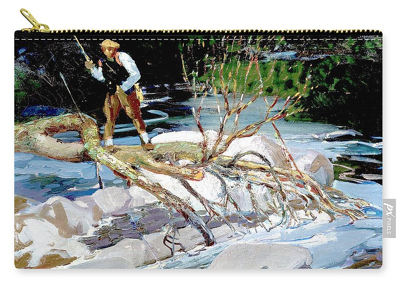 George Benjamin Luks Carry-all Pouch featuring the photograph Trout Fishing by George Benjamin Luks