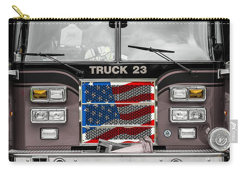 Firetruck Carry-all Pouch featuring the photograph Truck 23 by Ken Kobe