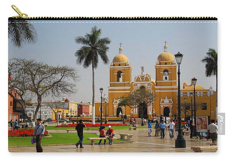 Trujillo Carry-all Pouch featuring the photograph Trujillo Peru Plaza by Cascade Colors