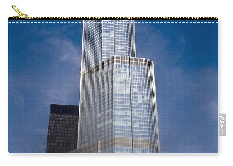 America; American; Apartment; Architecture; Architectural; Blue Sky; Building; High Rise; City; Tower; City Scene; Cityscape; Tourism; Daytime; Outside; Outdoors; Downtown; Exterior; Illinois; Chicago; Usa; United States; Tree; Skyscraper; Tourist Attraction; Trump International Hotel; Hotel; Trump International Tower; 21st Century; Urban Carry-all Pouch featuring the photograph Trump by Margie Hurwich