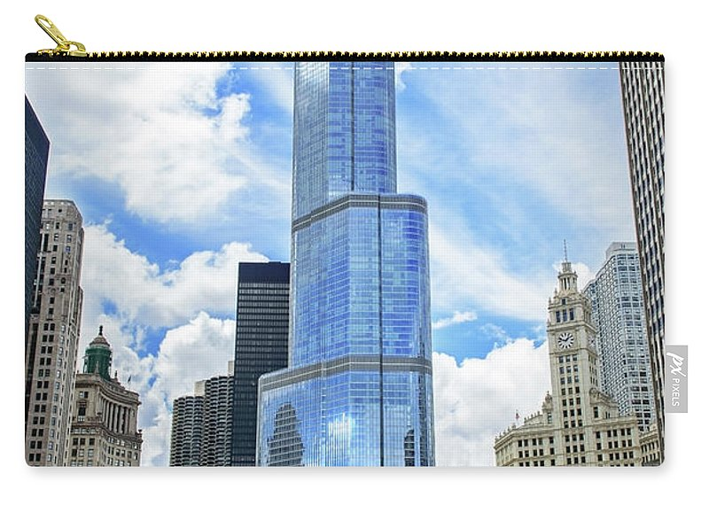 Downtown District Carry-all Pouch featuring the photograph Trump Tower In Chicago Illinois by Ghornephoto