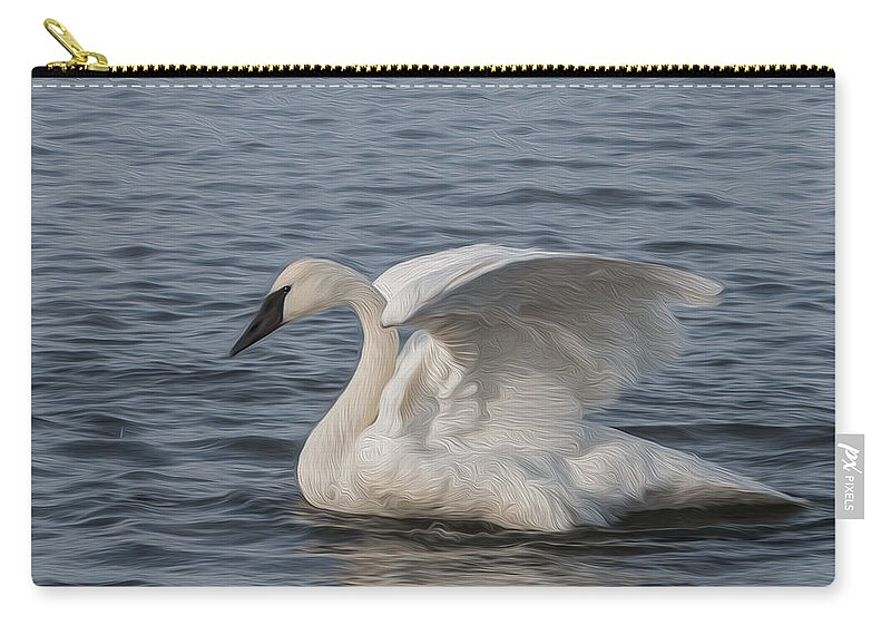 White Carry-all Pouch featuring the photograph Trumpeter Swan - Profile by Patti Deters