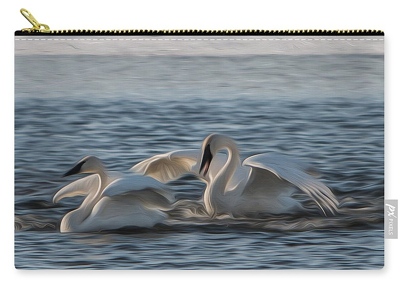 White Carry-all Pouch featuring the photograph Trumpeter Swans Playing Tag by Patti Deters