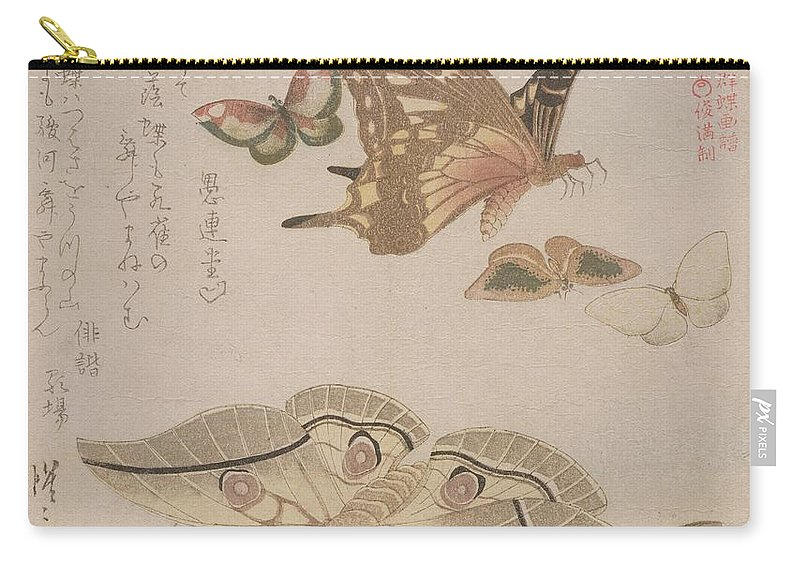 Butterfly Carry-all Pouch featuring the painting Tsubasa Ni Wa... From The Series by Kubo Shumman