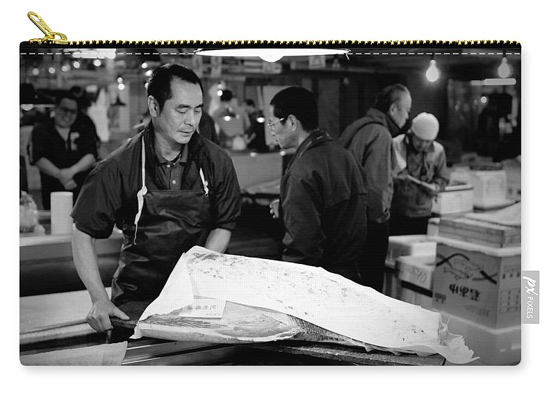 Japan Carry-all Pouch featuring the photograph Tsukiji Tokyo Fish Market by Sebastian Musial
