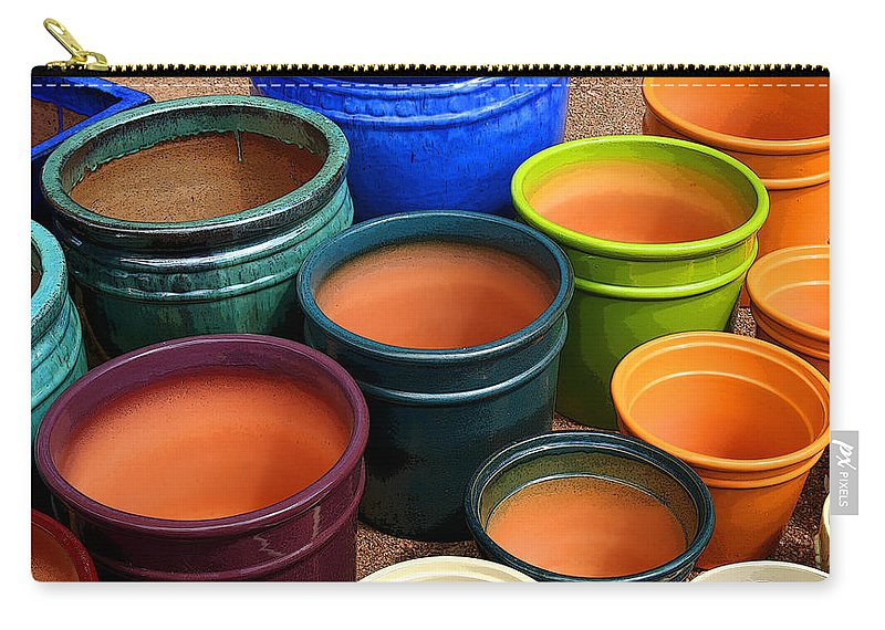 Tubac Carry-all Pouch featuring the photograph Tubac Pottery 2 by Joe Kozlowski