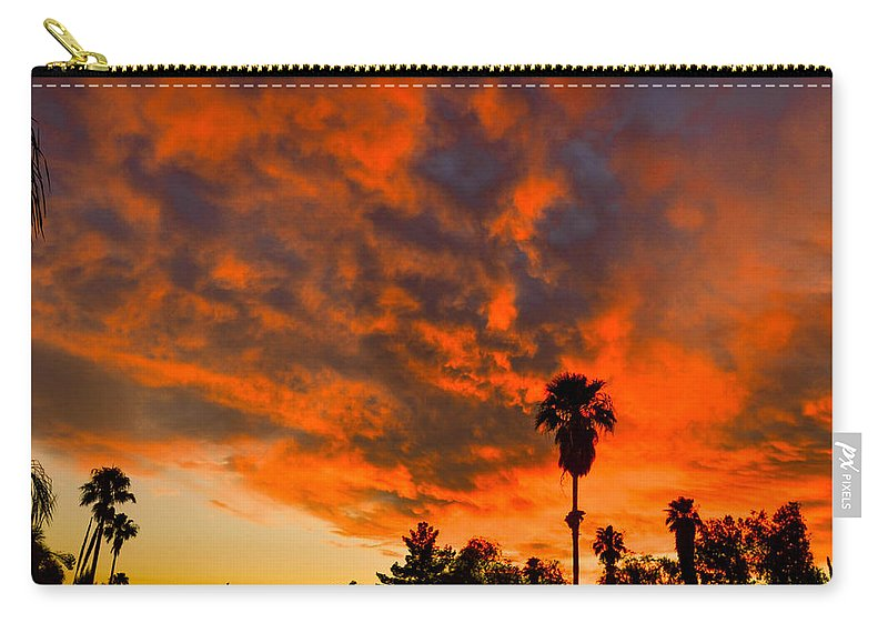 Tucson Carry-all Pouch featuring the photograph Tucson Arizona Sunrise Fire In The Sky by Michael Moriarty