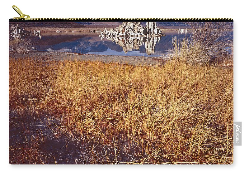 Nature Photography Carry-all Pouch featuring the photograph Tufa And Frozen Grass-sq by Tom Daniel