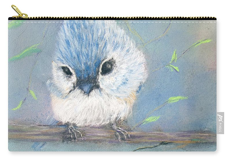 Bird Carry-all Pouch featuring the painting Tufted Titmouse by Loretta Luglio