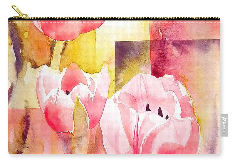 Pink Carry-all Pouch featuring the painting Tulip Cubed by Ruth Harris