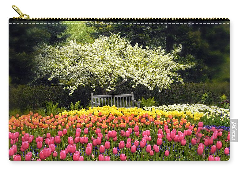 Flowers Carry-all Pouch featuring the photograph Tulip Garden by Jessica Jenney