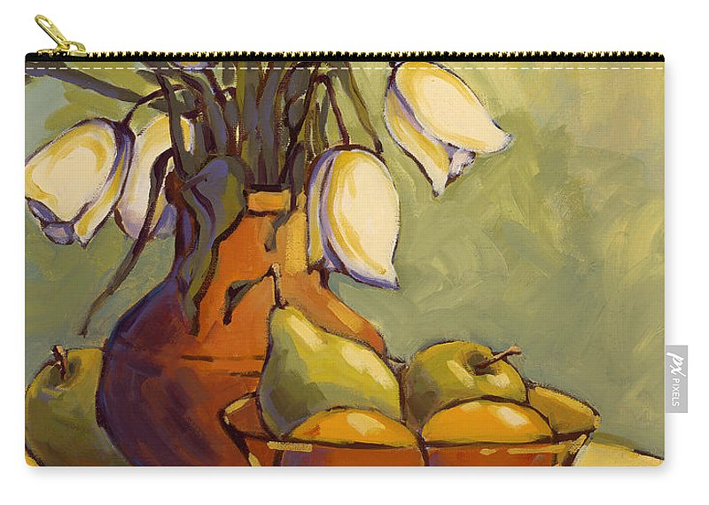 Tulips Carry-all Pouch featuring the painting Tulips 1 by Konnie Kim