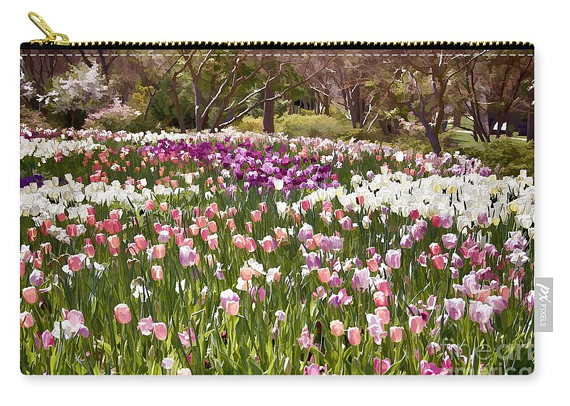 Tulips Carry-all Pouch featuring the photograph Tulips At Dallas Arboretum V51 by Douglas Barnard