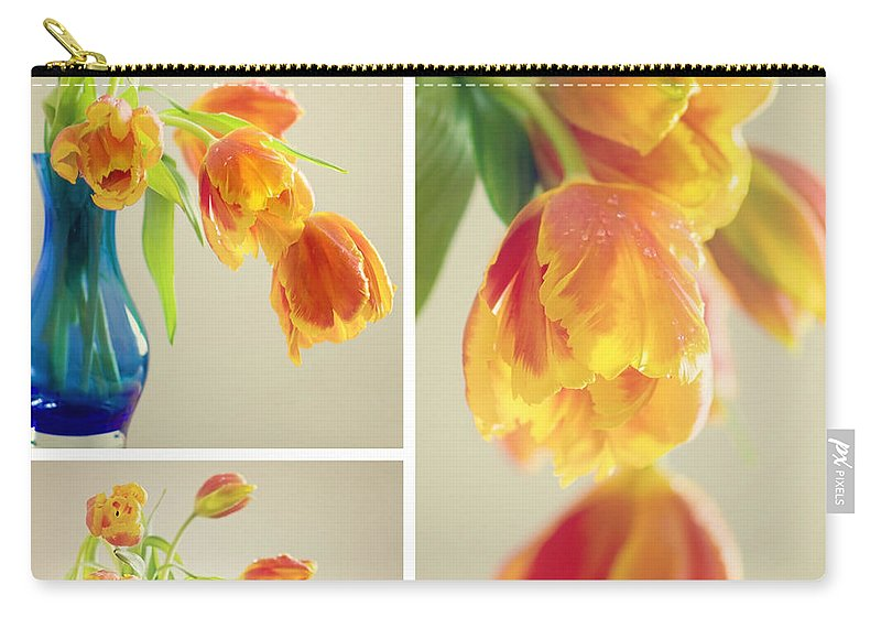 Tulpe Carry-all Pouch featuring the pyrography Tulips Collage by Steffen Gierok