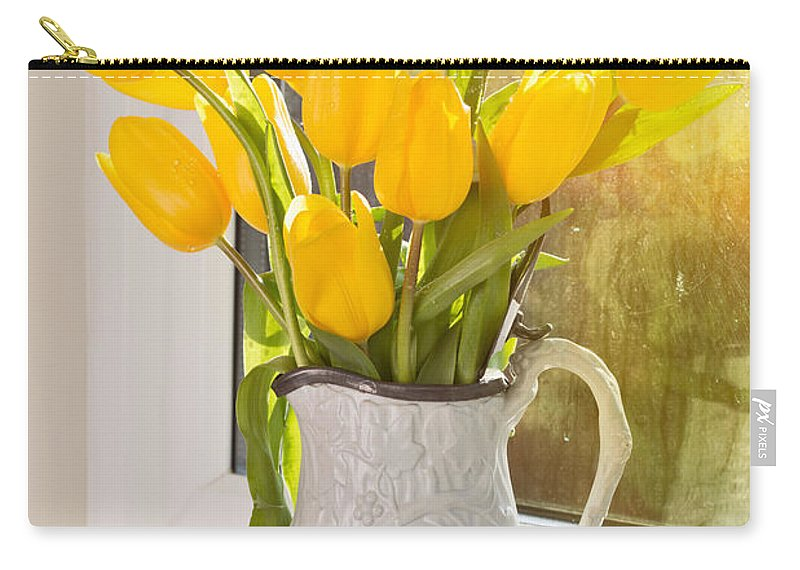 Tulip Carry-all Pouch featuring the photograph Tulips In Antique Jug by Amanda Elwell
