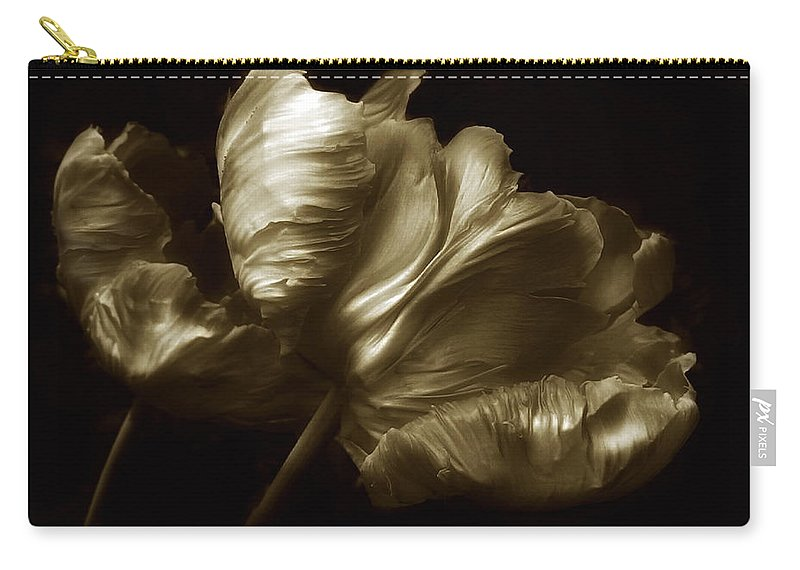 Flowers Carry-all Pouch featuring the photograph Tulips In Sepia by Jessica Jenney